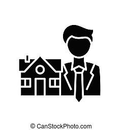 Real estate manager black icon, concept illustration, vector flat symbol, glyph sign.