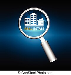 Real estate - Manifier and property sign with dark blue...