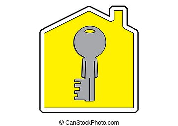 Real estate market concept. House icon with human like a key. Vector illustration