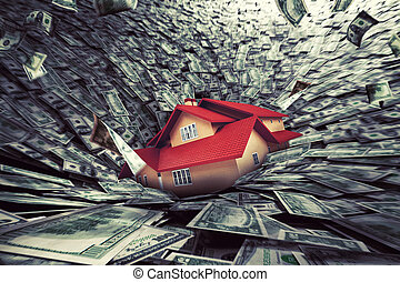 Real estate market crisis with a house sucked into debt. 3D...