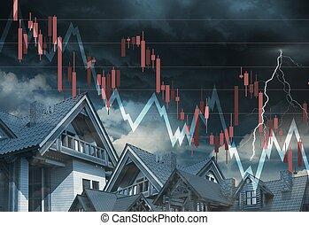 Real Estate Market Going Down Concept Illustration.