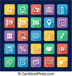 Real Estate Market Icons Flat Design