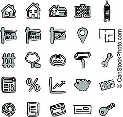 Real Estate Market Icons Freehand 2 Color
