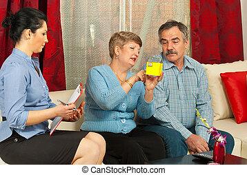 real estate, mit, fälliges ehepaar