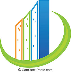 Real estate modern buildings logo