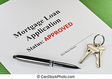 Real Estate Mortgage Approved Loan Document With Pen And...
