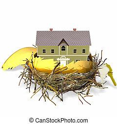 Real Estate Nest Egg - Large golden hatched egg sitting in a...