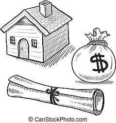 Doodle style real estate objects illustration in vector format suitable for web, print, or advertising use. Includes house, money bag, and deed.