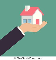 Real estate offer. Businessman holding a house