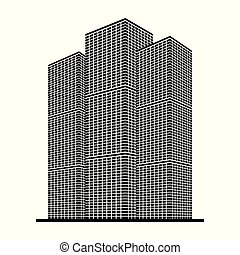 Real estate, office building, skyscraper black icon isolated on white background, vector illustration