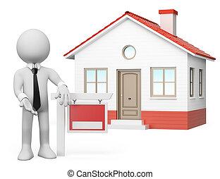 real, estate., pessoas., venda, branca, 3d
