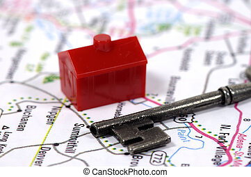 Real Estate - Photo of a Key House and Map