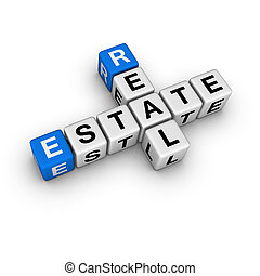 real estate symbol  (blue-white cubes crossword series)
