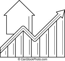 Real estate price growth line icon.