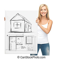 woman holding picture with house - real estate, property,...