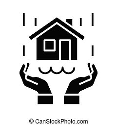 Real estate protection black icon, concept illustration, vector flat symbol, glyph sign.