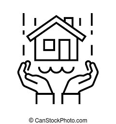 Real estate protection line icon, concept sign, outline vector illustration, linear symbol.