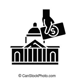 Real estate purchase black icon, concept illustration, vector flat symbol, glyph sign.