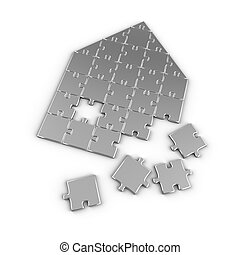 Real Estate Puzzle - House concept with puzzle pieces over...