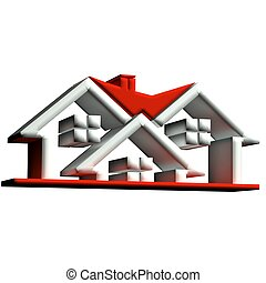 Real estate red houses 3D logo