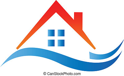 Real estate red wavy house logo