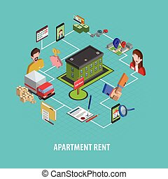 Real Estate Rent Concept - Real estate rent concept with...