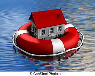 Real estate rescue - House and lifebuoy on water surface -...