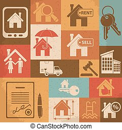 Real estate retro icon set. Vector illustration