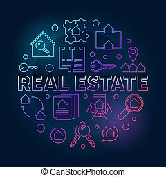 Real Estate round vector colored linear illustration
