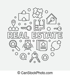 Real Estate round vector illustration in outline style