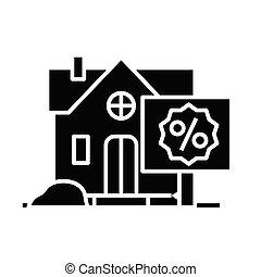 Real estate sale black icon, concept illustration, vector flat symbol, glyph sign.