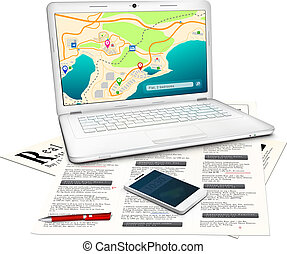 Real estate searching concept: Silver modern laptop with...