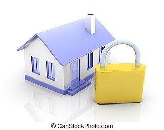 Real estate security - 3D rendered Illustration. Secured ...