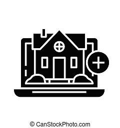 Real estate selection online black icon, concept illustration, vector flat symbol, glyph sign.