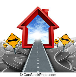 Real estate services and home buyer advice using a mortgage broker or a housing sales agent to help a family navigate through the confusing options and choices as a home icon in red with confused roads and signs.
