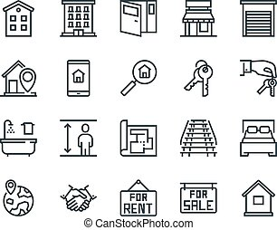 Real Estate. Set of outline vector icons. Includes such as Property, Building, Apartment and other. Editable Stroke. 48x48 Pixel Perfect.