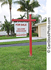 Real Estate Sign Beachfront Home