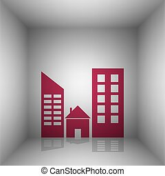 Real estate sign. Bordo icon with shadow in the room.