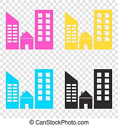 Real estate sign. CMYK icons on transparent background. Cyan, ma