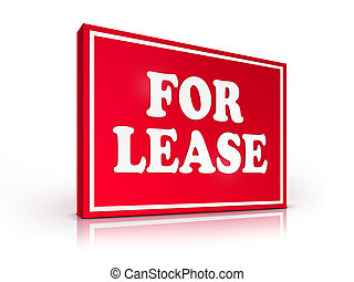 Real Estate Sign - For Lease on White background. 2D artwork...
