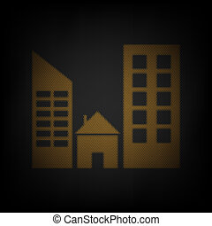 Real estate sign. Icon as grid of small orange light bulb in darkness. Illustration.