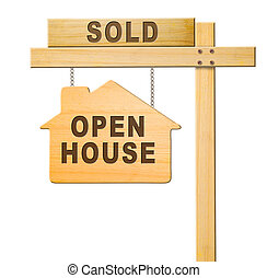 Real estate sign isolated. - Real estate sign isolated,...