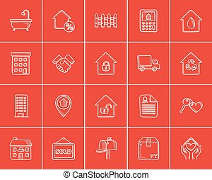 Real estate sketch icon set.
