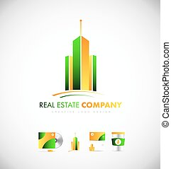 Real estate skyscraper building logo icon