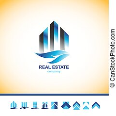 Real estate skyscraper building logo