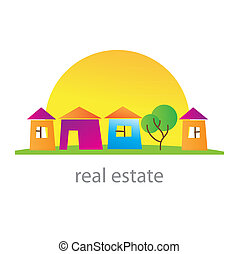 real-estate - Real estate. Cottage town. Template.
