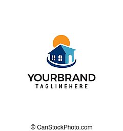 real estate sun logo design concept template vector