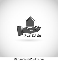 Real estate symbol human hand holding house silhouette...