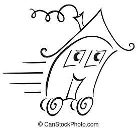 Real estate symbol - We are moving with our house into other...