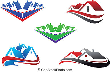 Real estate symbols - roofs and houses elements